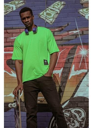 XHAN Yeşil Yanı Fermuarlı Oversize T-Shirt 1Kxe1-44586-08 Yeşil